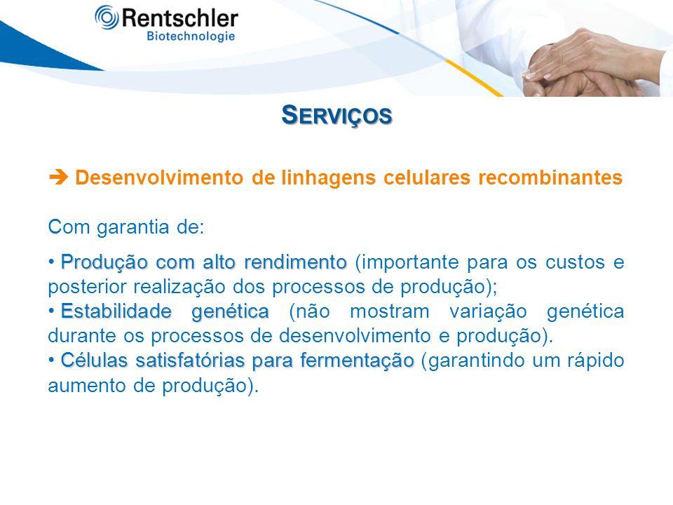 S ERVIÇOS Desenvolvimento de linhagens celulares recombinantes Com garantia de: Produção com alto rendimento Produção com alto rendimento (importante