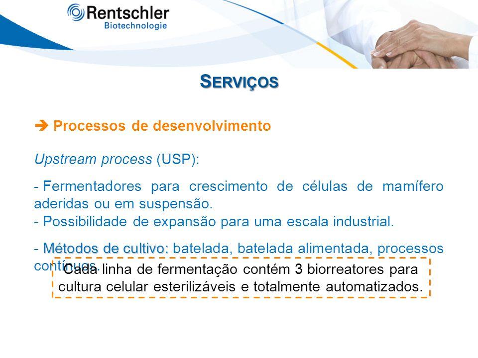 S ERVIÇOS Processos de desenvolvimento Upstream process (USP): - Fermentadores para crescimento de células de mamífero aderidas ou em suspensão. - Pos