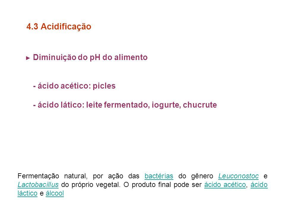 Diminuição do pH do alimento - ácido acético: picles - ácido lático: leite fermentado, iogurte, chucrute 4.3 Acidificação Fermentação natural, por ação das bactérias do gênero Leuconostoc e Lactobacillus do próprio vegetal.