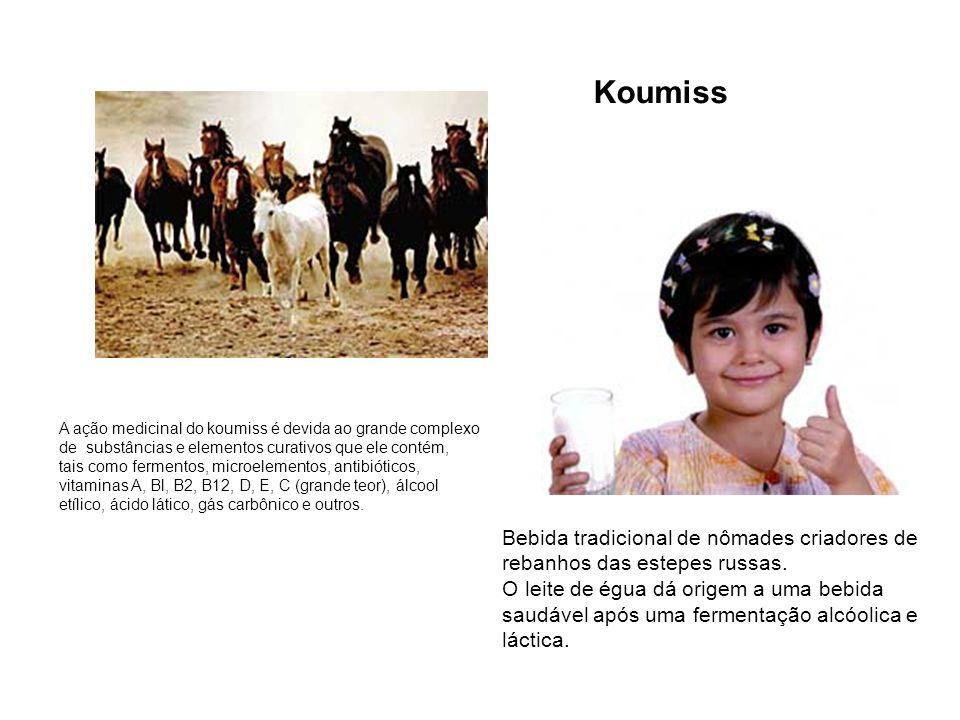 Bebida tradicional de nômades criadores de rebanhos das estepes russas. O leite de égua dá origem a uma bebida saudável após uma fermentação alcóolica