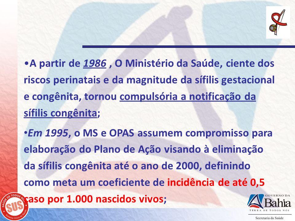 A partir de 1986, O Ministério da Saúde, ciente dos riscos perinatais e da magnitude da sífilis gestacional e congênita, tornou compulsória a notifica