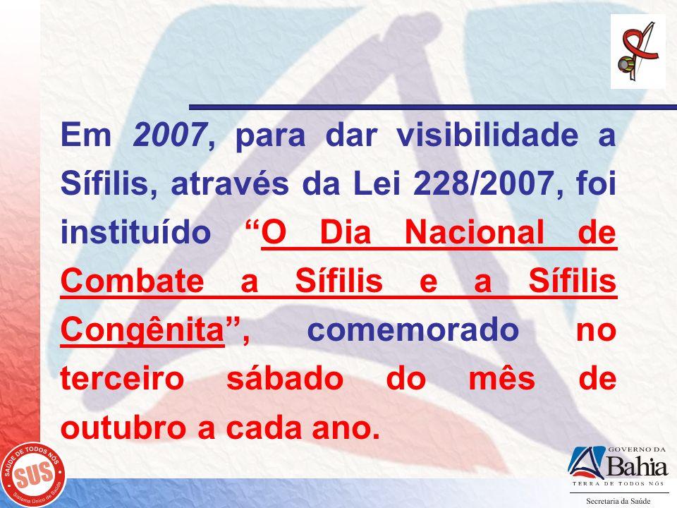 Em 2007, para dar visibilidade a Sífilis, através da Lei 228/2007, foi instituído O Dia Nacional de Combate a Sífilis e a Sífilis Congênita, comemorad