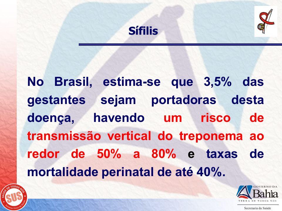 Sífilis No Brasil, estima-se que 3,5% das gestantes sejam portadoras desta doença, havendo um risco de transmissão vertical do treponema ao redor de 5