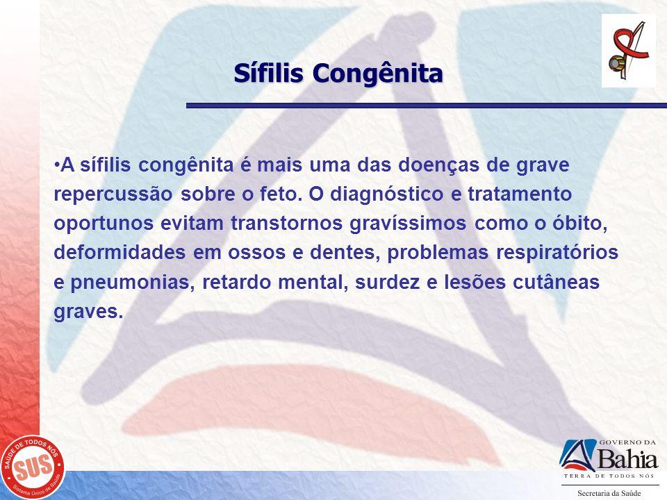 Sífilis Congênita A sífilis congênita é mais uma das doenças de grave repercussão sobre o feto. O diagnóstico e tratamento oportunos evitam transtorno
