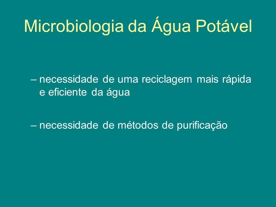 Microbiologia da Água Potável –necessidade de uma reciclagem mais rápida e eficiente da água –necessidade de métodos de purificação