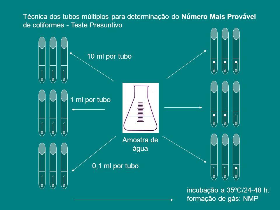 10 ml por tubo 0,1 ml por tubo 1 ml por tubo incubação a 35ºC/24-48 h: formação de gás: NMP Amostra de água Técnica dos tubos múltiplos para determina