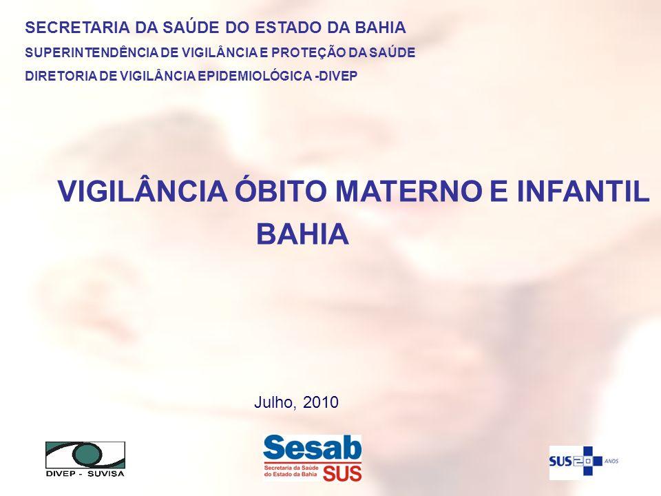 VIGILÂNCIA ÓBITO MATERNO E INFANTIL BAHIA SECRETARIA DA SAÚDE DO ESTADO DA BAHIA SUPERINTENDÊNCIA DE VIGILÂNCIA E PROTEÇÃO DA SAÚDE DIRETORIA DE VIGIL
