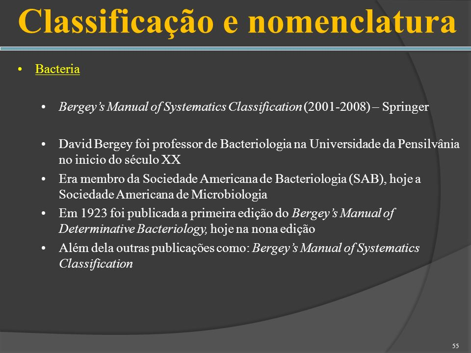 Bacteria Bergeys Manual of Systematics Classification (2001-2008) – Springer David Bergey foi professor de Bacteriologia na Universidade da Pensilvâni