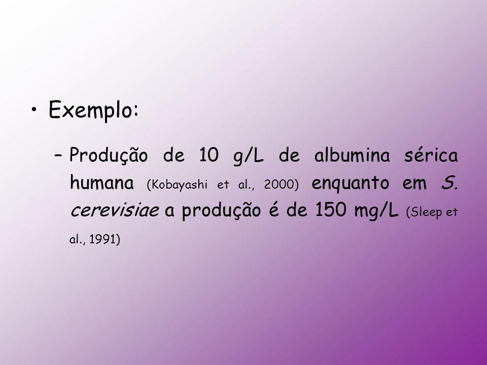 Exemplo: –Produção de 10 g/L de albumina sérica humana (Kobayashi et al., 2000) enquanto em S. cerevisiae a produção é de 150 mg/L (Sleep et al., 1991