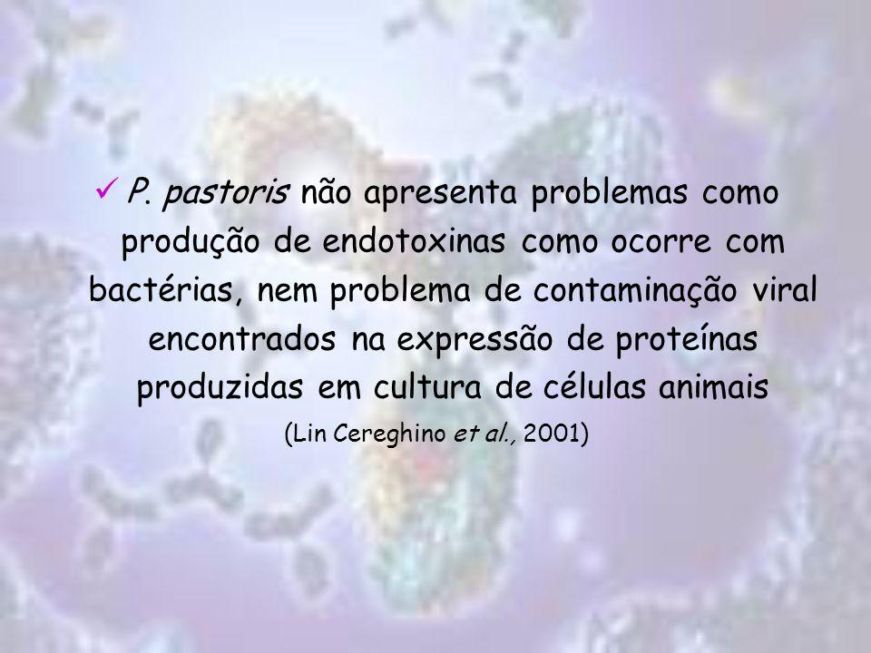 P. pastoris não apresenta problemas como produção de endotoxinas como ocorre com bactérias, nem problema de contaminação viral encontrados na expressã