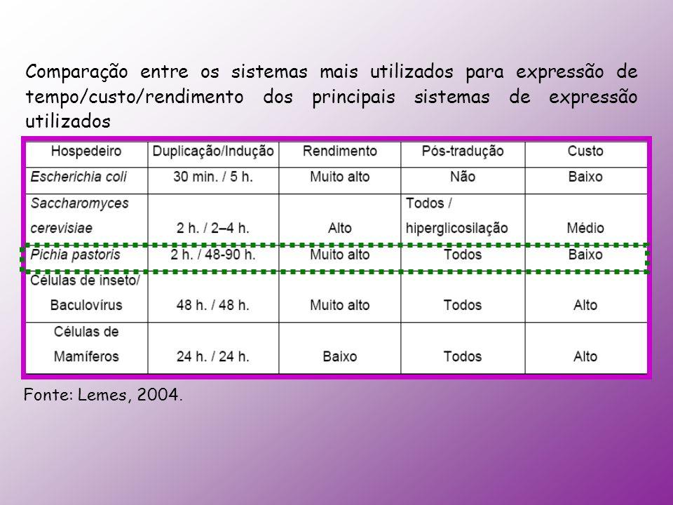Comparação entre os sistemas mais utilizados para expressão de tempo/custo/rendimento dos principais sistemas de expressão utilizados Fonte: Lemes, 20