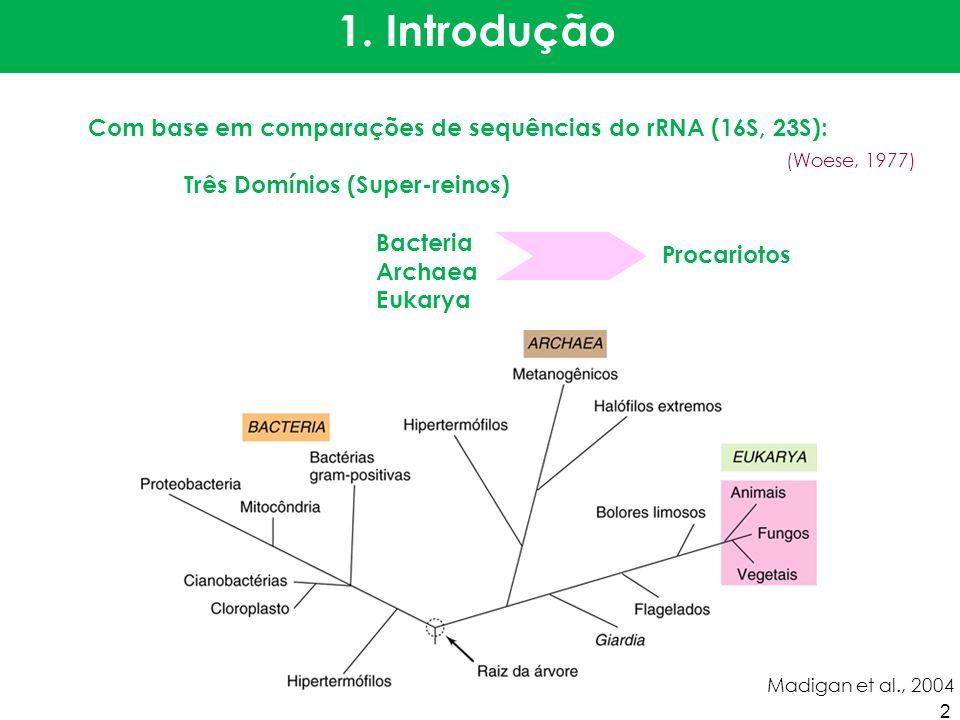 PropriedadeProcariotosEucariotos Domínios Bacteria e ArchaeaEukarya: algas, fungos, protozoários, plantas e animais Estrutura e função do núcleo Membrana nuclear ausentepresente DNA Molécula única, sem histonas, plasmídeos freqüentesPresente em vários cromossomos, geralmente com histonas DivisãoSem meioseMeiose, aparelho meiótico com fuso microtubular Reprodução sexuadaProcesso fragmentário, sem meiose, apenas porções são montadas Processo regular, ocorrência de meiose, remontagem do genoma inteiro Estrutura e organização do citoplasma Membrana citoplasmática Geralmente sem esteróisEsteróis geralmente presentes Membranas internasRelativamente simples, restritas a poucos gruposComplexas, retículo endoplasmático, aparelho de Golgi Ribossomos 70 S80 S, exceto para os ribossomos, mitocôndrias e cloroplastos (70S) Organelas membranosas AusentesVárias Sistema respiratório Parte da membrana citoplasmáticaNas mitocôndrias Pigmentos fotossintetizantes Na membrana interna de clorossomas, cloroplastos ausentesEm cloroplastos Parede celular Presente (maioria), composta de peptidoglicano, outros polissacarídeos, proteínas e glicoproteínas Presente em plantas, algas e fungos; ausente nos animais, na maioria dos protozoários; geralmente polissacarídica Formas de motilidade Movimento flagelarFlagelos de dimensões sub- microscópicas, cada um composto de uma fibra de dimensão molecular; rotação Flagelos ou cílios; dimensões microscópicas; compostos de microtúbulos; sem rotação Movimento não flagelarDeslizamento; ou através das vesículas de gásCorrentes citoplasmáticas e movimento amebóide; deslizante MicrotúbulosausentesComuns, presentes em flagelos, cílios, corpos basais, fuso mitótico, centríolos Tamanho Geralmente menores que 2 m de diâmetroGeralmente 2 a mais de 100 m de diâmetro 3
