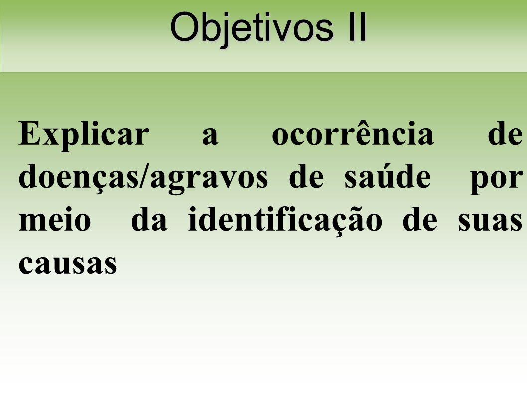 Explicar a ocorrência de doenças/agravos de saúde por meio da identificação de suas causas Objetivos II