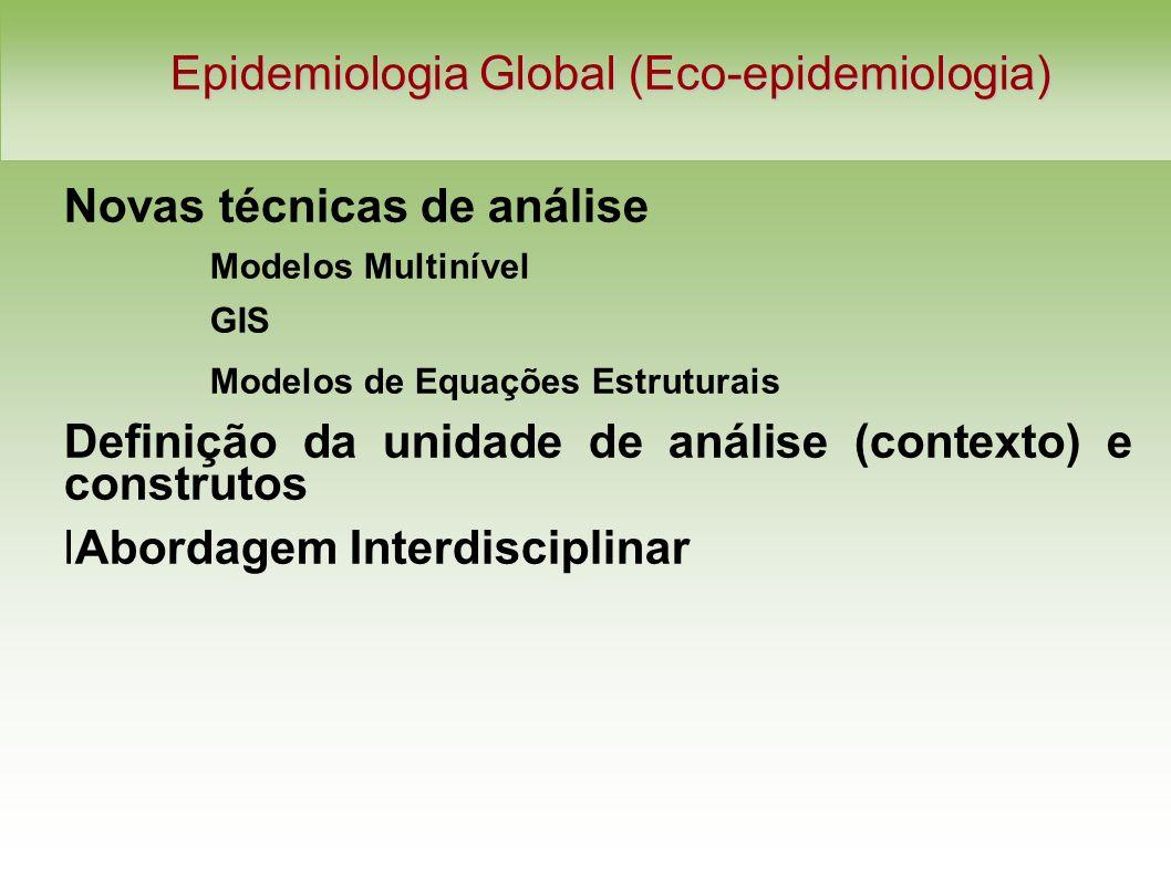 Epidemiologia Global (Eco-epidemiologia) Novas técnicas de análise Modelos Multinível GIS Modelos de Equações Estruturais Definição da unidade de análise (contexto) e construtos lAbordagem Interdisciplinar