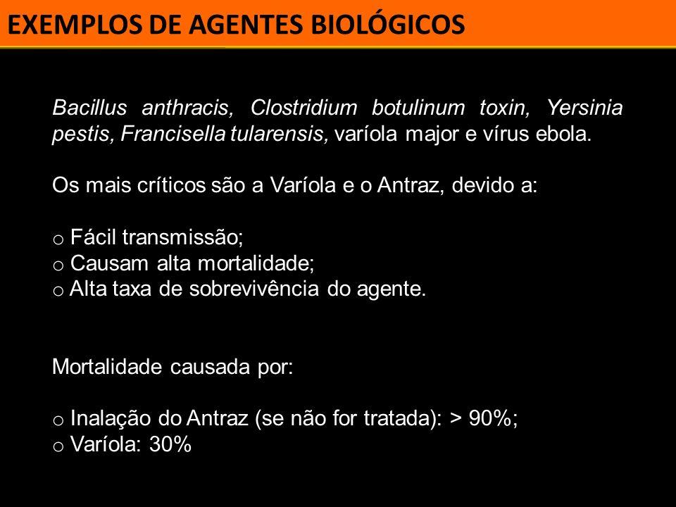 CLASSIFICAÇÃO Os agentes utilizados são classificados em três categorias (pelo CDC): o Categoria A; o Categoria B; o Categoria C.