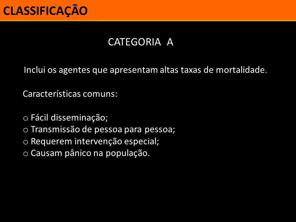 CLASSIFICAÇÃO CATEGORIA A Exemplos: o Varíola; o Antraz; o Botulismo; o Peste bubônica; o Filovírus; o Arenavírus; o Tularemia.