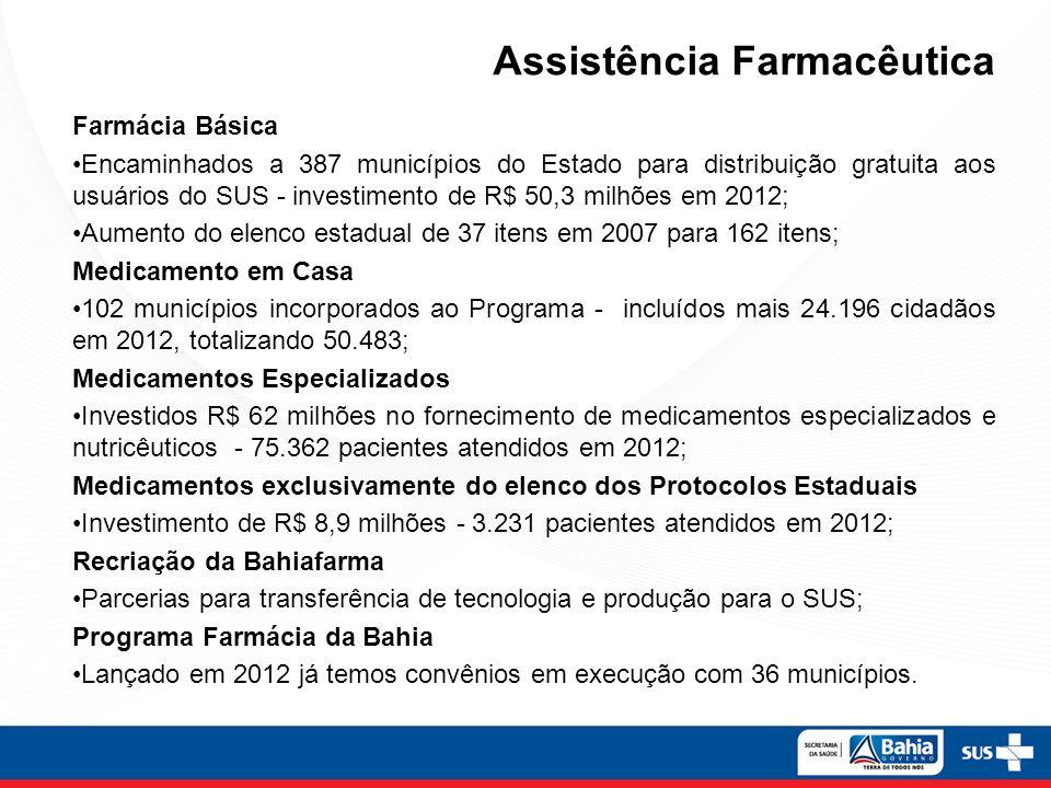 Assistência Farmacêutica Farmácia Básica Encaminhados a 387 municípios do Estado para distribuição gratuita aos usuários do SUS - investimento de R$ 5