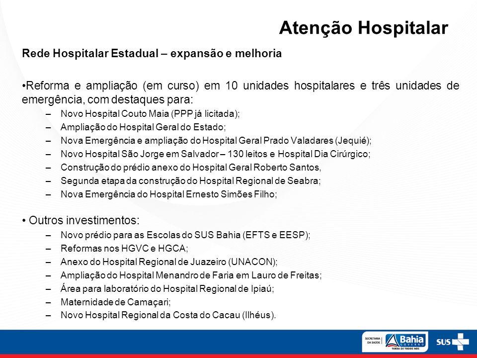 Rede Hospitalar Estadual – expansão e melhoria Reforma e ampliação (em curso) em 10 unidades hospitalares e três unidades de emergência, com destaques