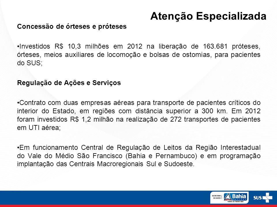 Concessão de órteses e próteses Investidos R$ 10,3 milhões em 2012 na liberação de 163.681 próteses, órteses, meios auxiliares de locomoção e bolsas d