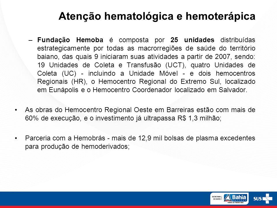 –Fundação Hemoba é composta por 25 unidades distribuídas estrategicamente por todas as macrorregiões de saúde do território baiano, das quais 9 inicia