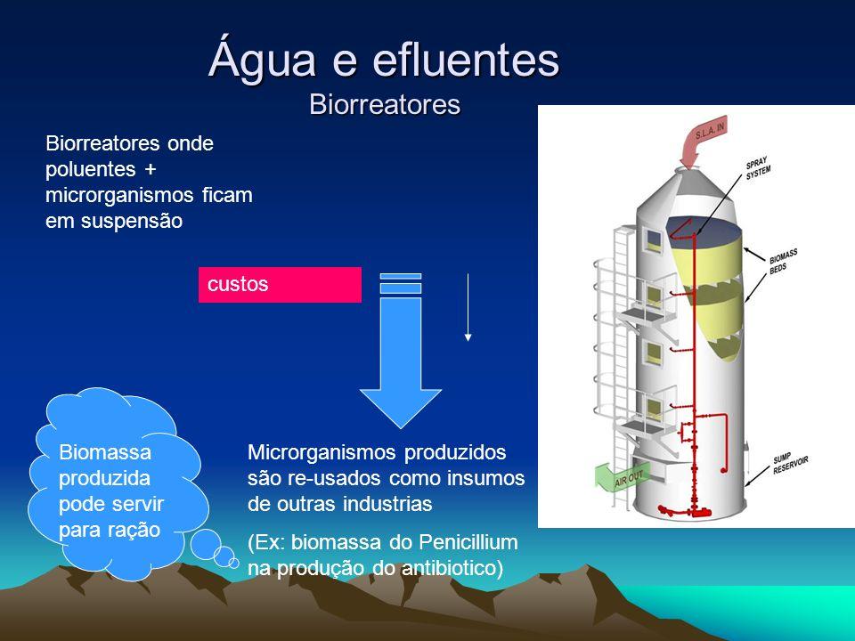 Água e efluentes Biorreatores Biorreatores onde poluentes + microrganismos ficam em suspensão custos Microrganismos produzidos são re-usados como insu