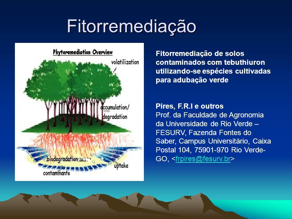 Fitorremediação Fitorremediação de solos contaminados com tebuthiuron utilizando-se espécies cultivadas para adubação verde Pires, F.R.I e outros Prof
