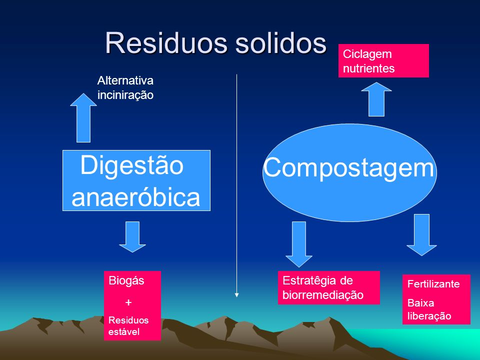 Residuos solidos Digestão anaeróbica Compostagem Biogás + Residuos estável Ciclagem nutrientes Estratêgia de biorremediação Fertilizante Baixa liberaç
