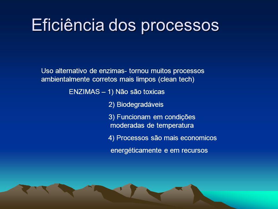 Eficiência dos processos Uso alternativo de enzimas- tornou muitos processos ambientalmente corretos mais limpos (clean tech) ENZIMAS – 1) Não são tox