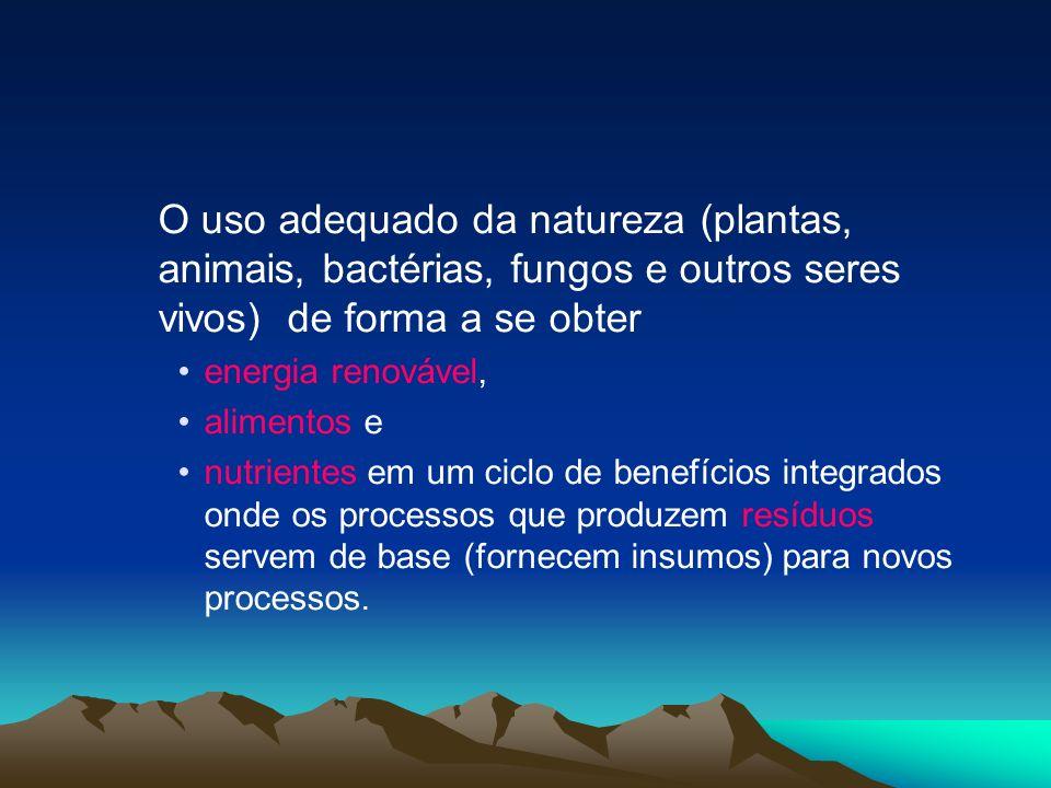O uso adequado da natureza (plantas, animais, bactérias, fungos e outros seres vivos) de forma a se obter energia renovável, alimentos e nutrientes em