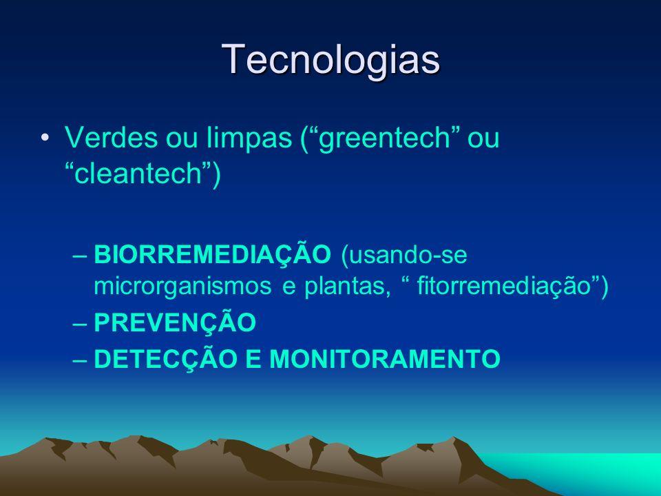 Tecnologias Verdes ou limpas (greentech ou cleantech) –BIORREMEDIAÇÃO (usando-se microrganismos e plantas, fitorremediação) –PREVENÇÃO –DETECÇÃO E MON