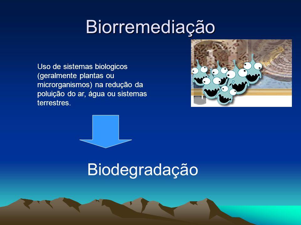 Biorremediação Uso de sistemas biologicos (geralmente plantas ou microrganismos) na redução da poluição do ar, água ou sistemas terrestres. Biodegrada