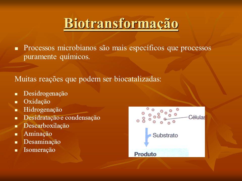 Processos microbianos são mais específicos que processos puramente químicos. Muitas reações que podem ser biocatalizadas: Desidrogenação Oxidação Hidr