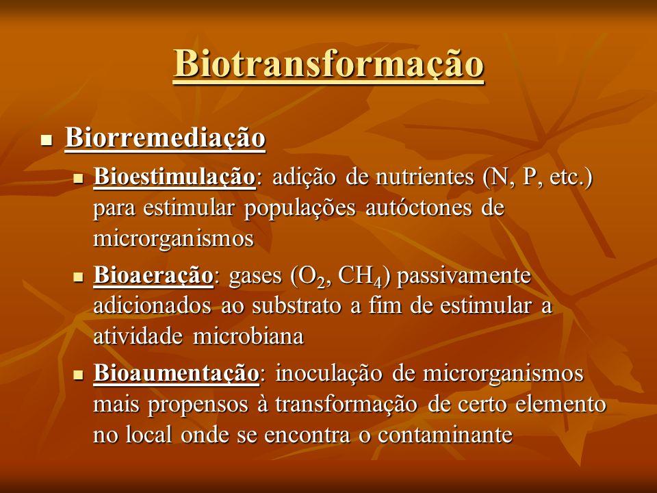 Biorremediação Biorremediação Bioestimulação: adição de nutrientes (N, P, etc.) para estimular populações autóctones de microrganismos Bioestimulação: