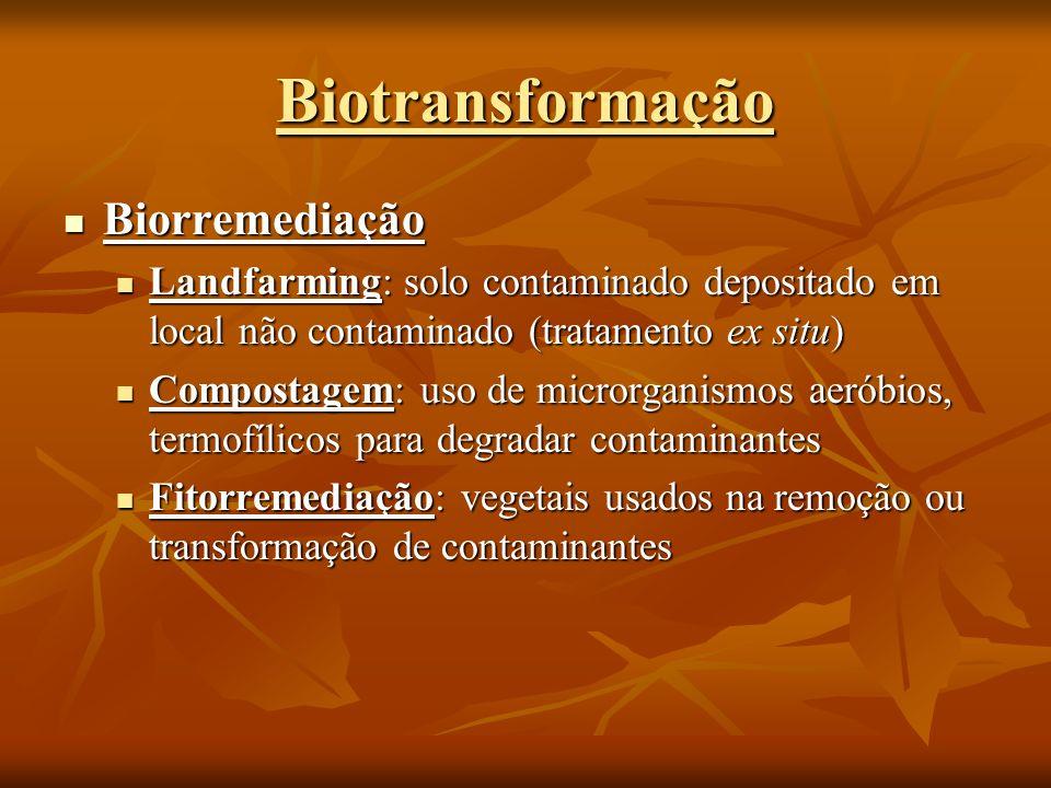 Biorremediação Biorremediação Landfarming: solo contaminado depositado em local não contaminado (tratamento ex situ) Landfarming: solo contaminado dep