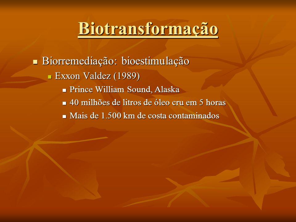 Biorremediação: bioestimulação Biorremediação: bioestimulação Exxon Valdez (1989) Exxon Valdez (1989) Prince William Sound, Alaska Prince William Soun