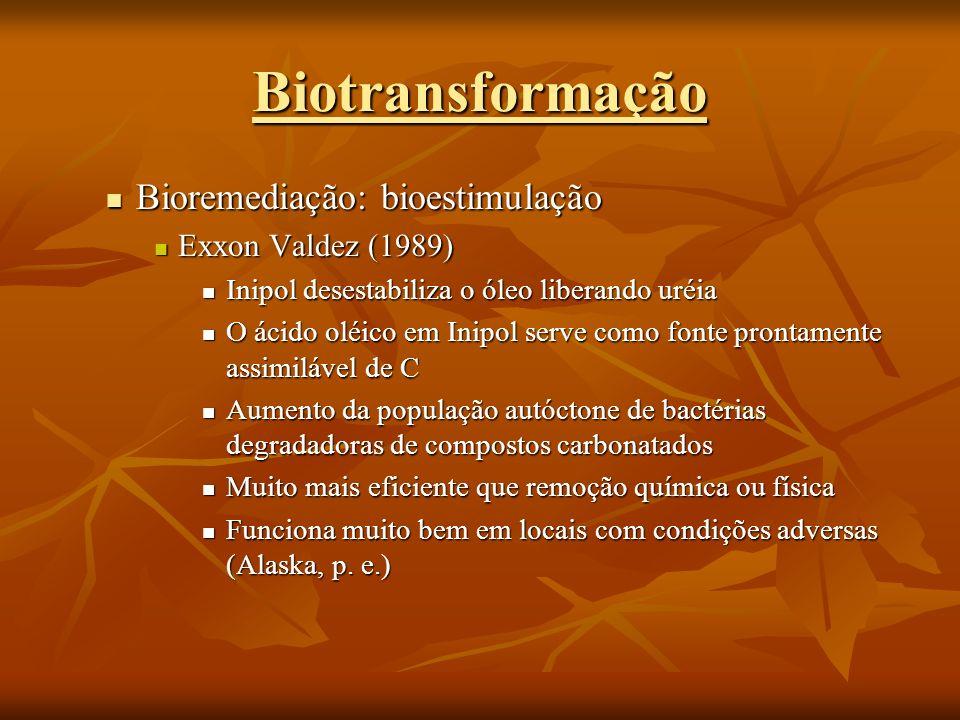 Bioremediação: bioestimulação Bioremediação: bioestimulação Exxon Valdez (1989) Exxon Valdez (1989) Inipol desestabiliza o óleo liberando uréia Inipol