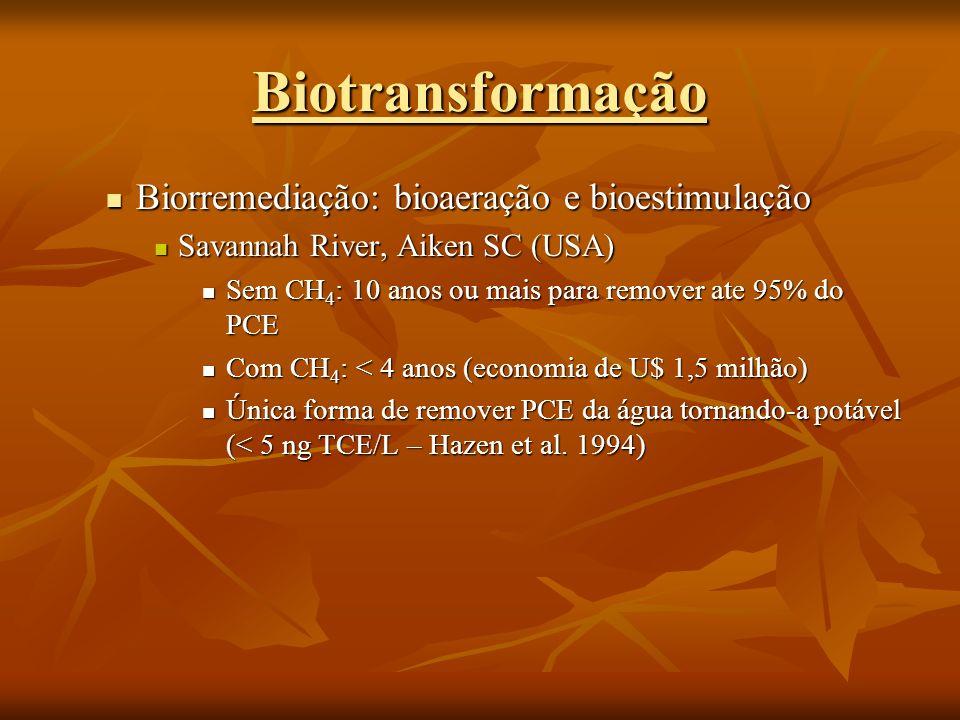 Biorremediação: bioaeração e bioestimulação Biorremediação: bioaeração e bioestimulação Savannah River, Aiken SC (USA) Savannah River, Aiken SC (USA)