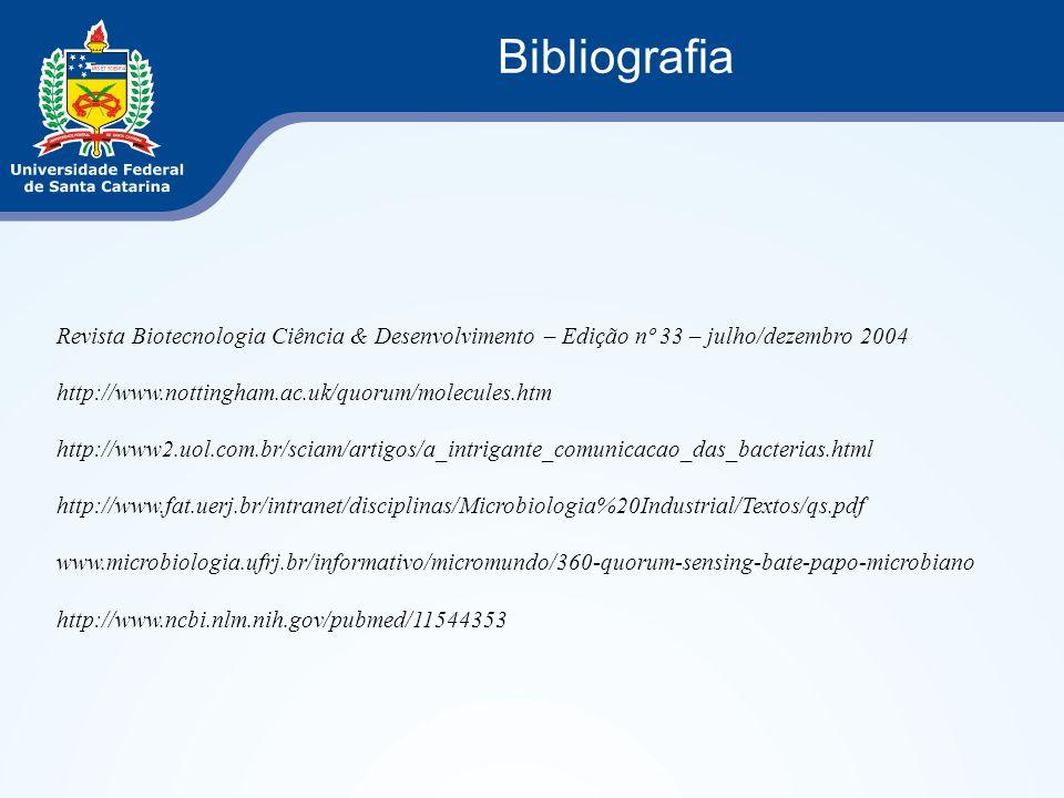 Revista Biotecnologia Ciência & Desenvolvimento – Edição nº 33 – julho/dezembro 2004 http://www.nottingham.ac.uk/quorum/molecules.htm http://www2.uol.