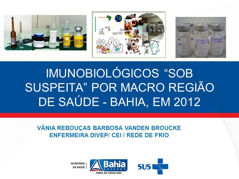 DISTRIBUIÇÃO DOS IMUNOBIOLÓGICOS NOTIFICADOS COMO SOB SUSPEITA , NA MACRO REGIÃO DE SAÚDE NORDESTE, EM 2012.