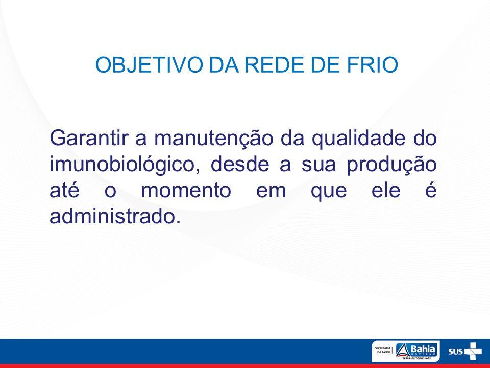 Garantir a manutenção da qualidade do imunobiológico, desde a sua produção até o momento em que ele é administrado. OBJETIVO DA REDE DE FRIO