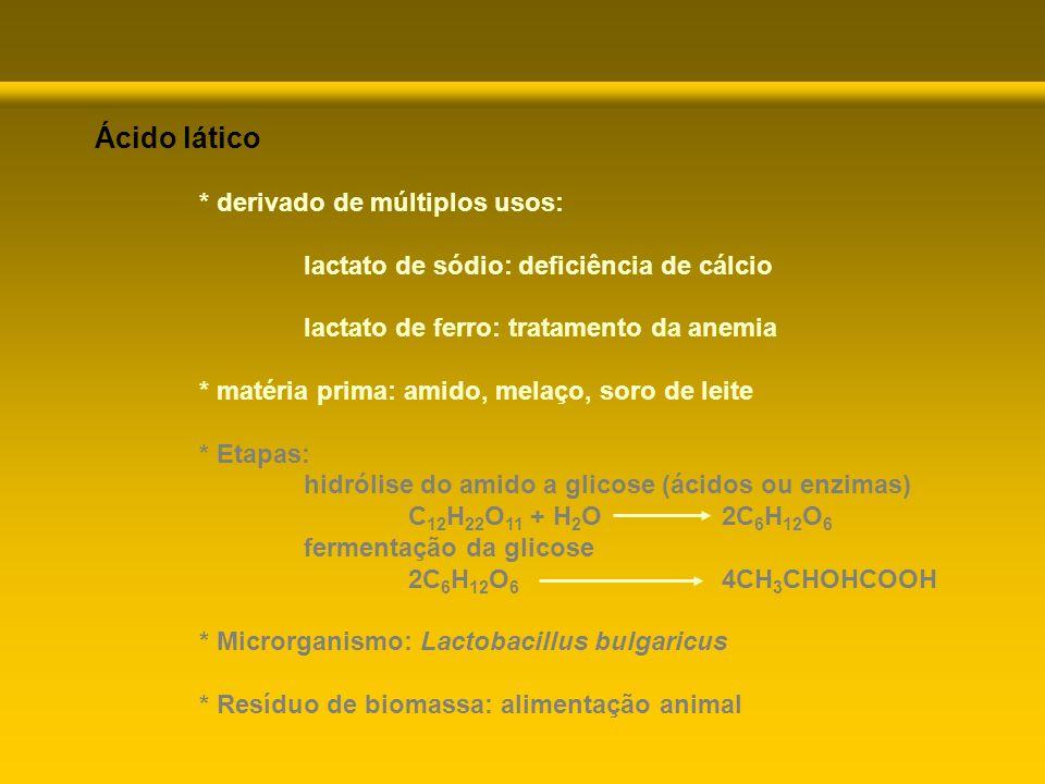 Ácido lático * derivado de múltiplos usos: lactato de sódio: deficiência de cálcio lactato de ferro: tratamento da anemia * matéria prima: amido, mela