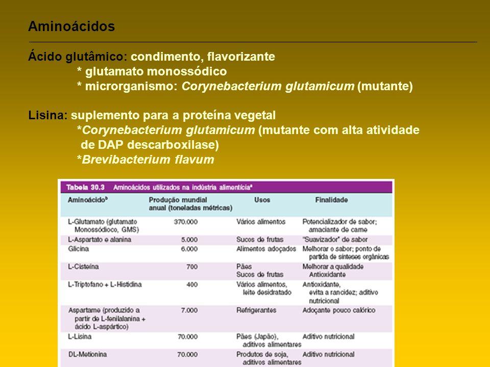 Aminoácidos Ácido glutâmico: condimento, flavorizante * glutamato monossódico * microrganismo: Corynebacterium glutamicum (mutante) Lisina: suplemento