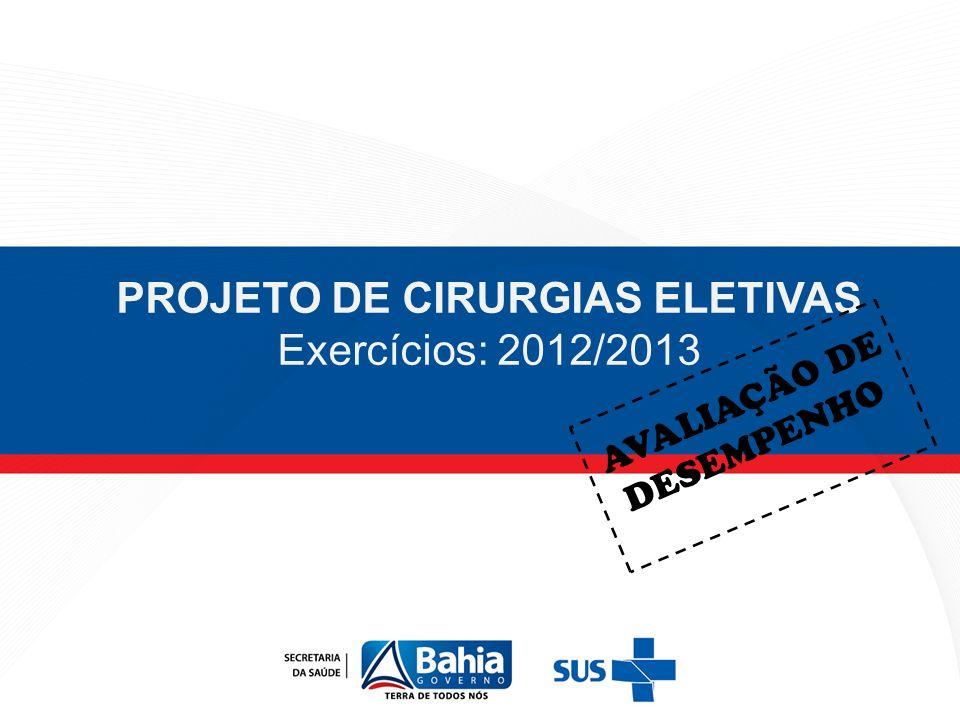 PROJETO DE CIRURGIAS ELETIVAS Exercícios: 2012/2013 AVALIAÇÃO DE DESEMPENHO