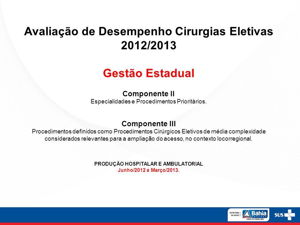 Avaliação de Desempenho Cirurgias Eletivas 2012/2013 Gestão Estadual Componente II Especialidades e Procedimentos Prioritários. Componente III Procedi