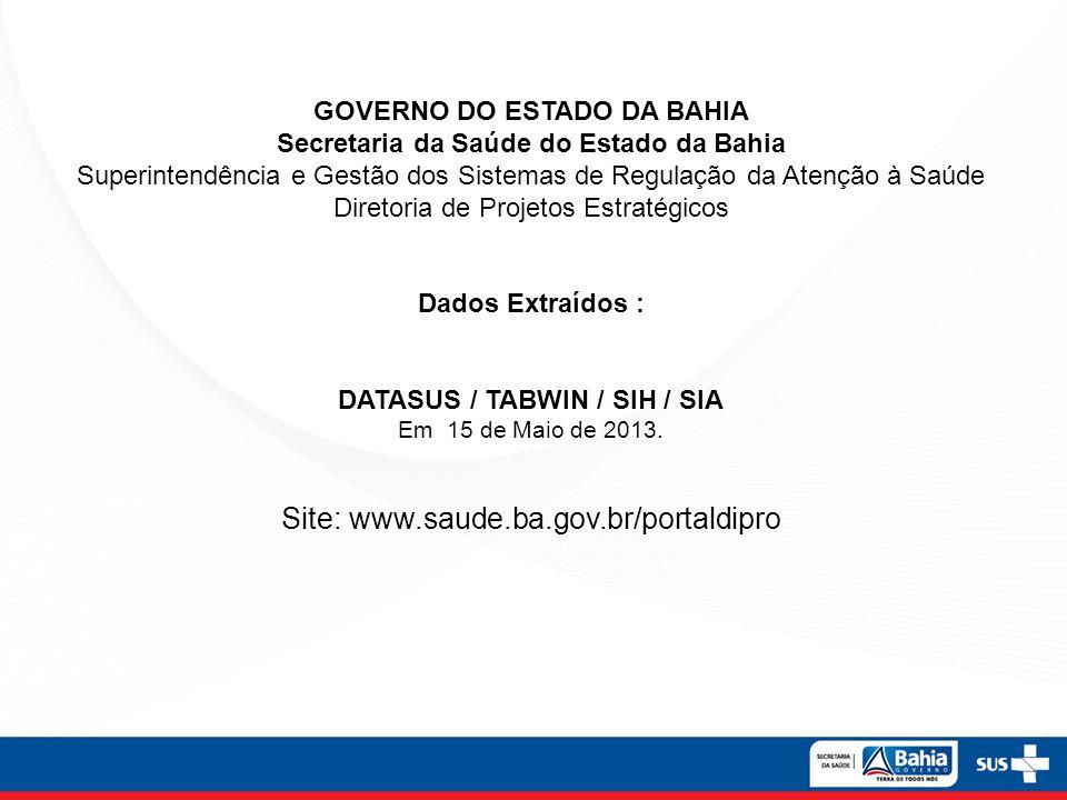GOVERNO DO ESTADO DA BAHIA Secretaria da Saúde do Estado da Bahia Superintendência e Gestão dos Sistemas de Regulação da Atenção à Saúde Diretoria de