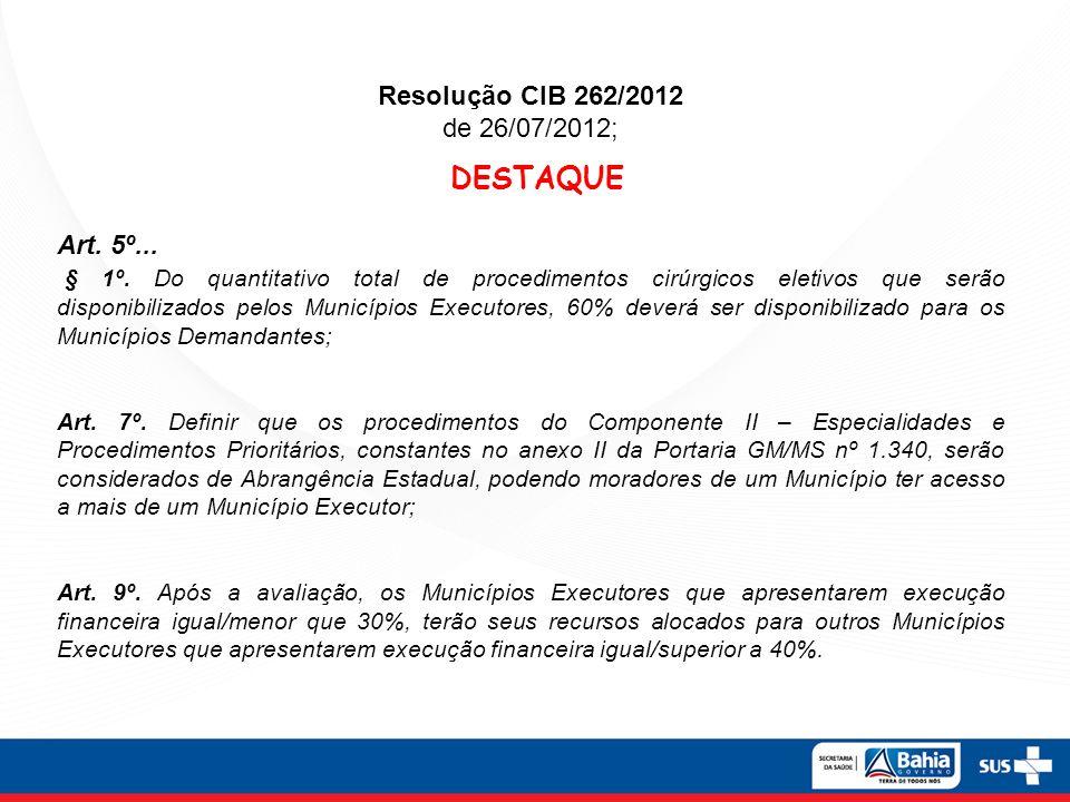 Resolução CIB 262/2012 de 26/07/2012; DESTAQUE Art. 5º... § 1º. Do quantitativo total de procedimentos cirúrgicos eletivos que serão disponibilizados