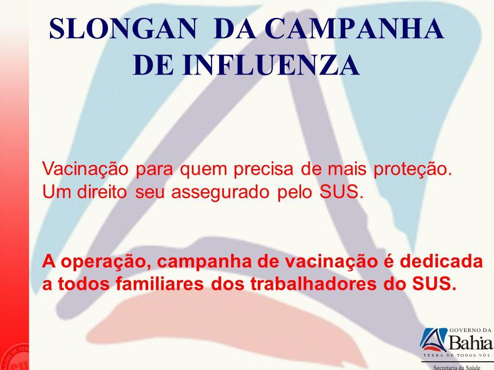 SLONGAN DA CAMPANHA DE INFLUENZA Vacinação para quem precisa de mais proteção. Um direito seu assegurado pelo SUS. A operação, campanha de vacinação é