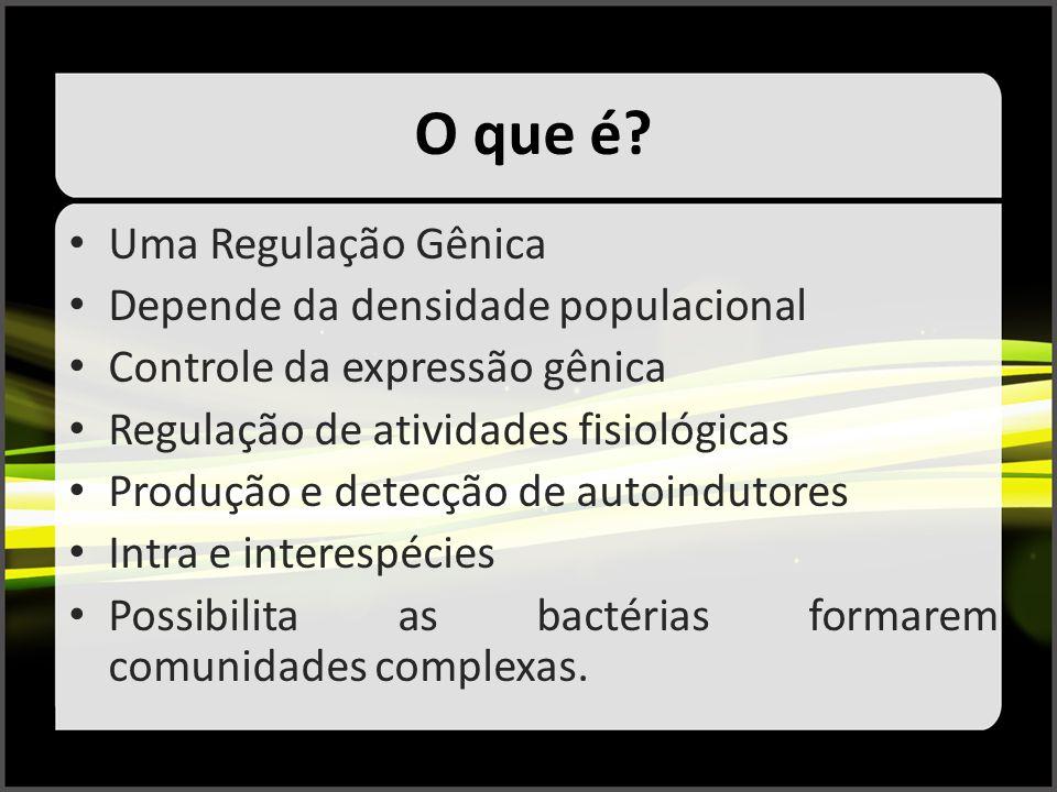 O que é? Uma Regulação Gênica Depende da densidade populacional Controle da expressão gênica Regulação de atividades fisiológicas Produção e detecção
