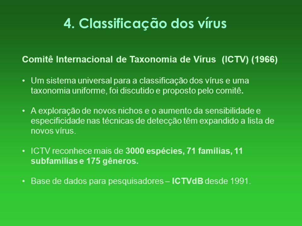4. Classificação dos vírus Comitê Internacional de Taxonomia de Vírus (ICTV) (1966) Um sistema universal para a classificação dos vírus e uma taxonomi
