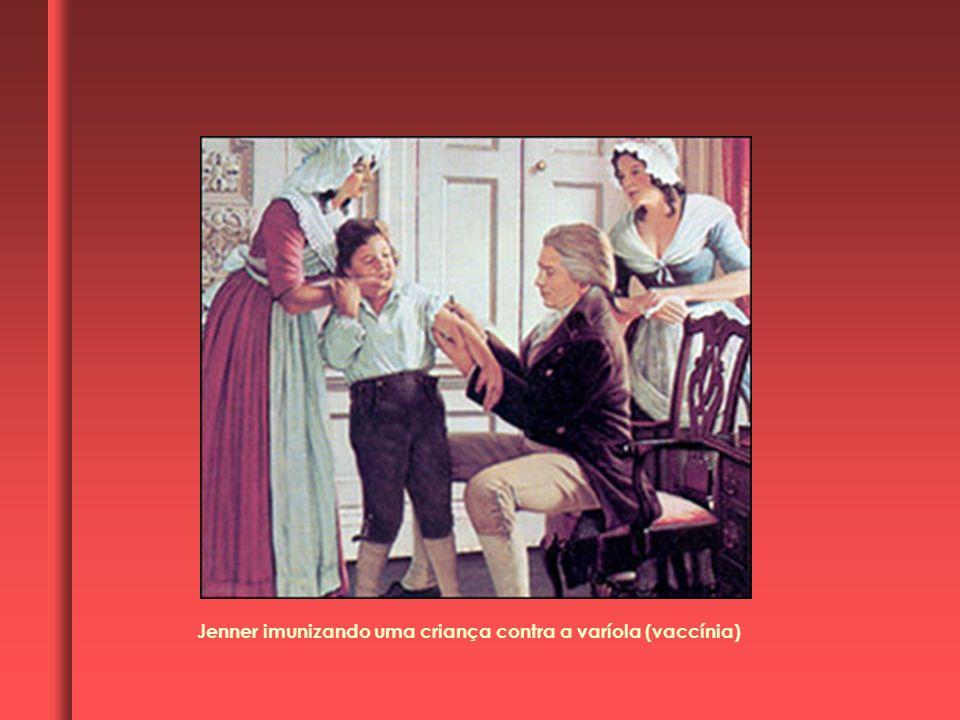 Jenner imunizando uma criança contra a varíola (vaccínia)